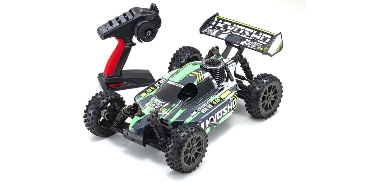PACK ECO Kyosho Buggy thermique rc inferno neo 3.0 VERT 1/8 Moteur 3,5 cc