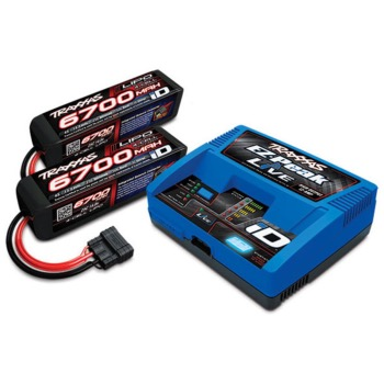 PACK CHARGEUR LIVE 2971GX + 2 x LIPO 4S 6700MAH 2890X PRISE TRAXXAS