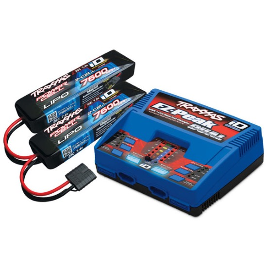 PACK CHARGEUR 2972G + 2 x LIPO 2S 7600MAH 2869X PRISE TRAXXAS