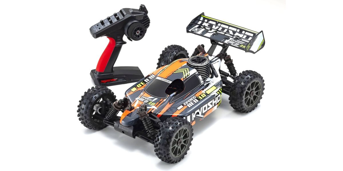 PACK ECO Kyosho Buggy thermique rc inferno neo 3.0 ORANGE 1/8 Moteur 3,5 cc